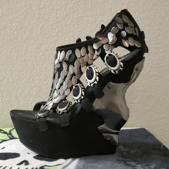 HADES Shoes - HADES Suede Metal Armour Scales Platform Heels